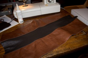 Leather sewn and ready for upholstering