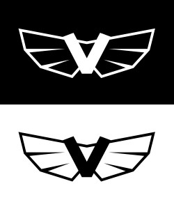 V badge in black and white